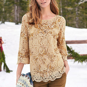 Sundance Catalog Moon Flowers Sequin Lace Top